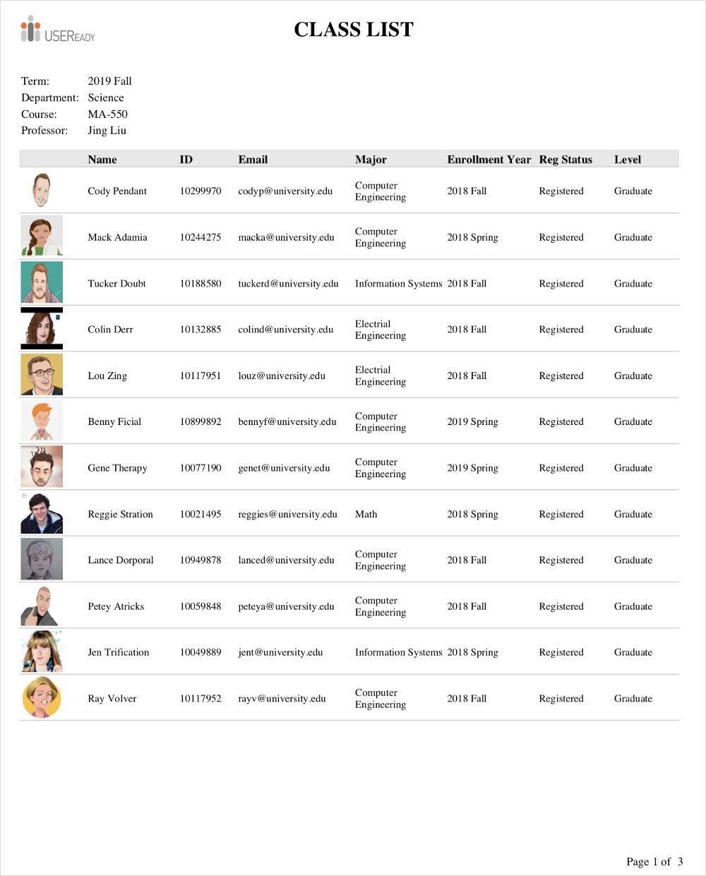 University Class List